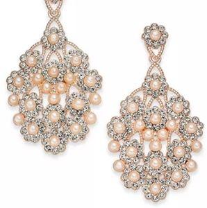 INC Drop Earrings Faux Pearl Pave Crystal Rose
